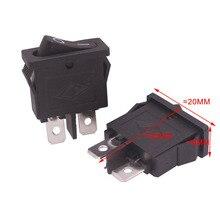 10 шт./лот 2 контакта черный плоский Кулисный Переключатель 20*9*25 мм 6A 250 В 10A 125 В AC аксессуары для электрооборудования