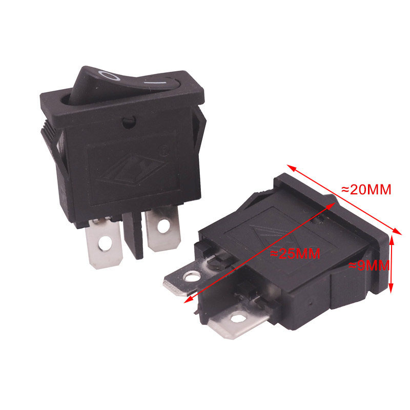 10 pcs / lot 2 Pins Black Flat Rocker Switch 20 * 9 * 25mm 6A 250V 10A 125V AC Electrical Equipment Accessories 5 pcs ac 6a 250v 10a 125v 3 pin black button on on round boat rocker switch