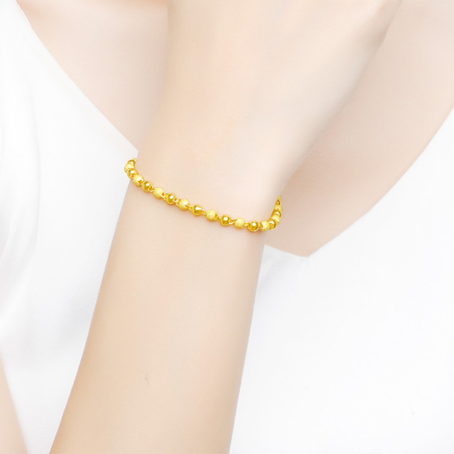 JLZB 24K Pure Gold Bracelet Real 999 Solid Gold Bangle Smart Fashion Frosted Bead Trendy Classic Fine Jewelry Hot Sell New 2020 4