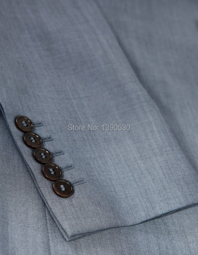 VENTE CHAUDE 100% laine faite sur mesure gris clair revers revers - Vêtements pour hommes - Photo 3