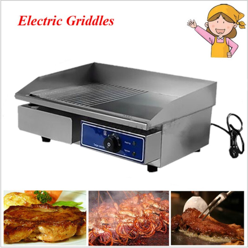 1 pcs Stainless steel grooved flat pan electric griddles 220V electric contact grill grooved electric fried pans fm ul 6 200psi ductile iron di grooved x grooved os