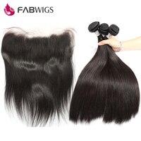 Fabwigs прямые Синтетический Frontal шнурка волос Синтетическое закрытие волос с бразильской пучки волос плетение 100% Человеческие волосы Связки