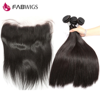 Fabwigs Straight Lace Frontal Closure With Brazilian Hair Weave Bundles 100% Human Hair Bundles with Frontal Remy Hair
