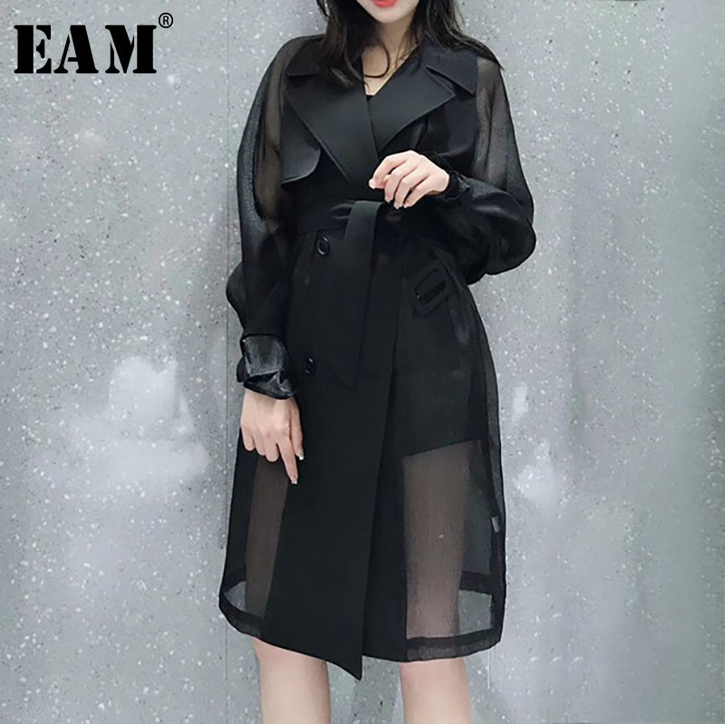 [EAM] High Quality 2018 Autumn Fashion New White Black Temperament Mesh Spliced Adjustable Waist Windbreaker Women's LA361