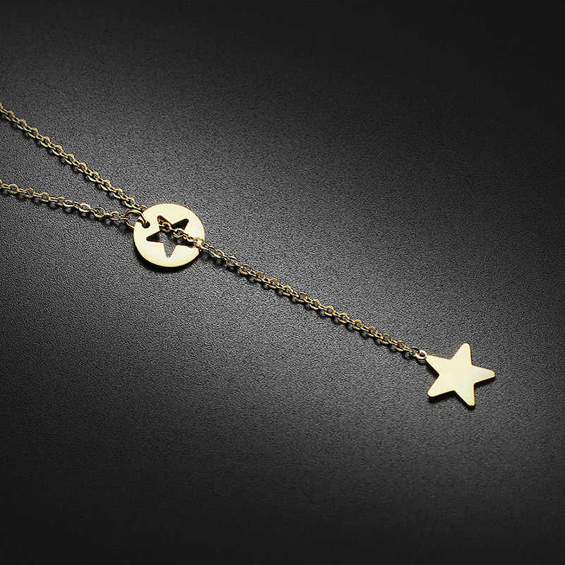 BIG J.W Elegant Star Charm Pendants Necklaces Minimalist Stainless Steel Adjustable Necklace for Women Fine Jewelry Her Gift