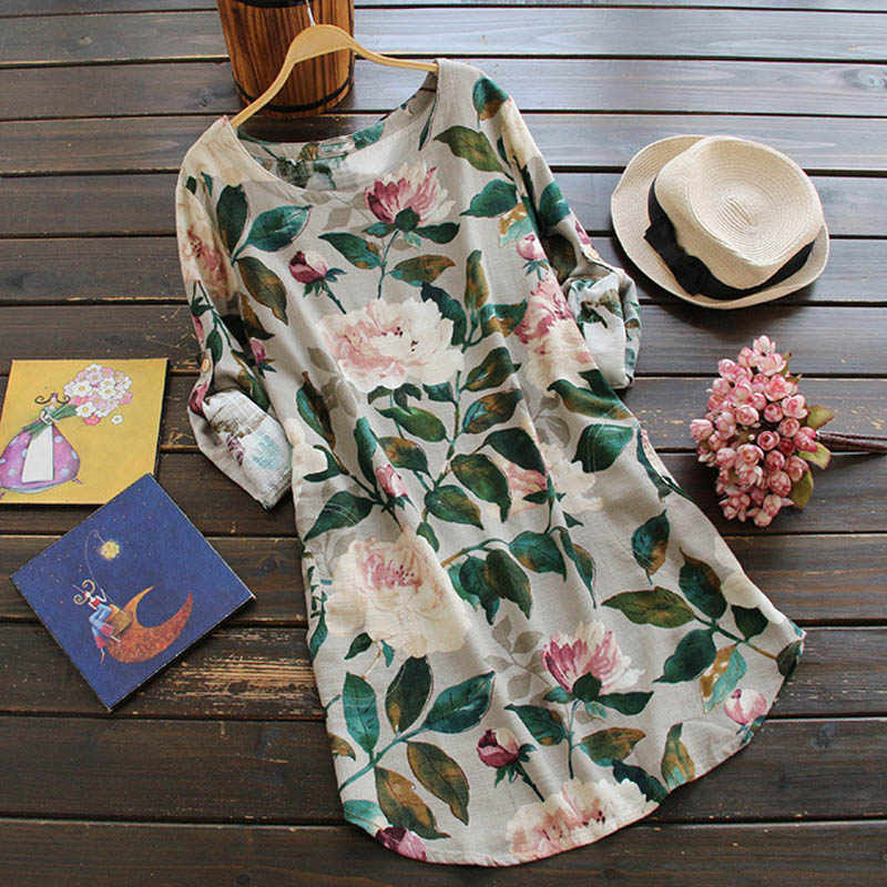 Loose Mini Cotton Linen Dress Spring Summer Plus Size Clothing Elegant Long Sleeve Floral Printed Shift Dress Casual Boho Dress
