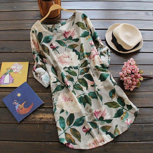 Loose Mini Cotton Linen Dress Spring Summer Plus Size Clothing Elegant Long Sleeve Floral Printed Shift Dress Casual Boho Dress