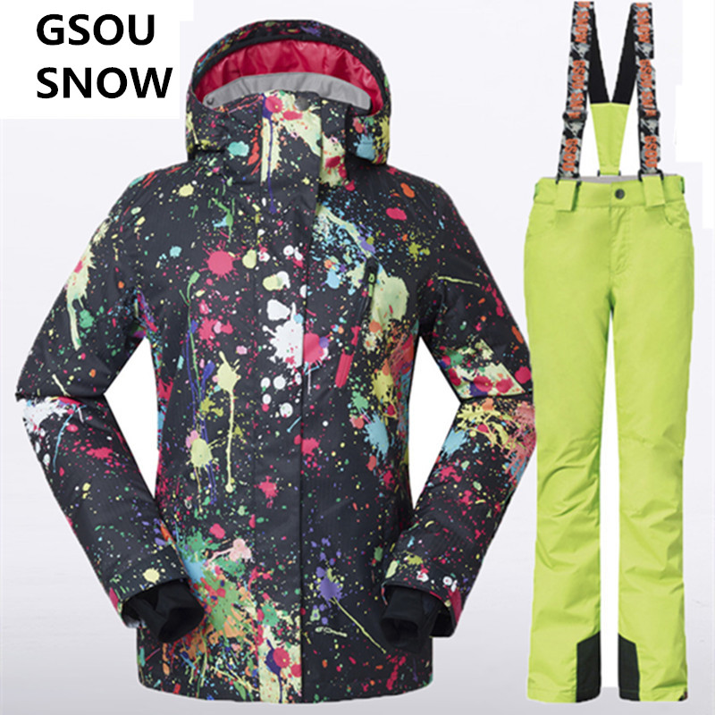 Prix pour Gsou Neige D'hiver-Femmes-Veste-Pantalon Ski Snowboard Femmes Combinaison De Ski Mis Imperméable Respirant Dames de Ski Vêtements Ski Vestes