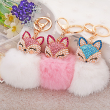 2016 New Arrival Cute Gift Bling Rhinestone Fox Rabbit Fluffy Ball Keychain Car Key Ring Pendant