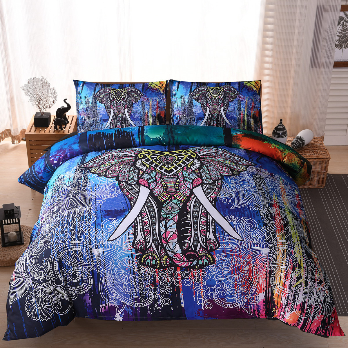 3D 3pc beddingset elephants wolf lion ethnic style duvet quit cover pillowcase ...
