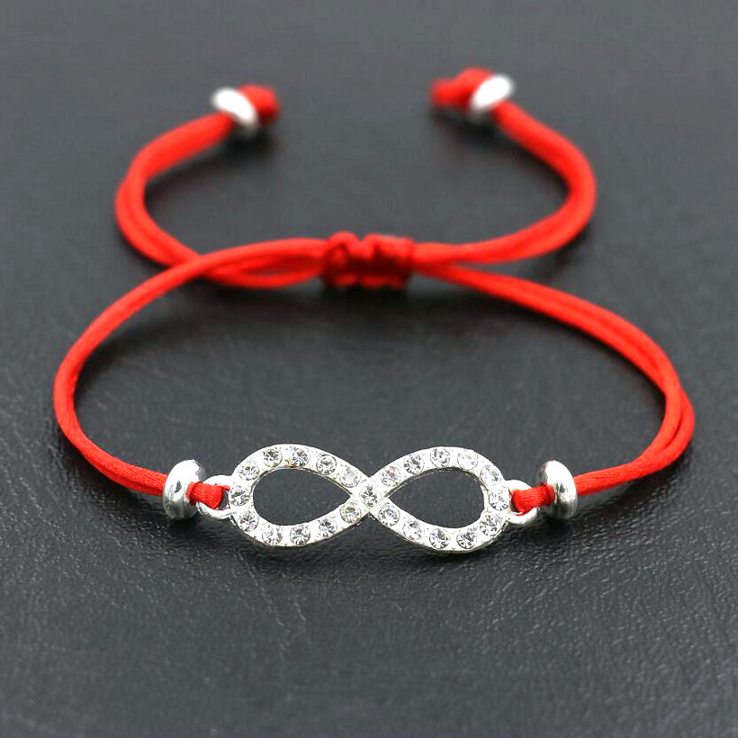 Lucky Silver Color Inlay Zircon Infinity 8 Crosses Bracelets Men Love Red Thread String Bracelet For Women Couples Lucky Gift