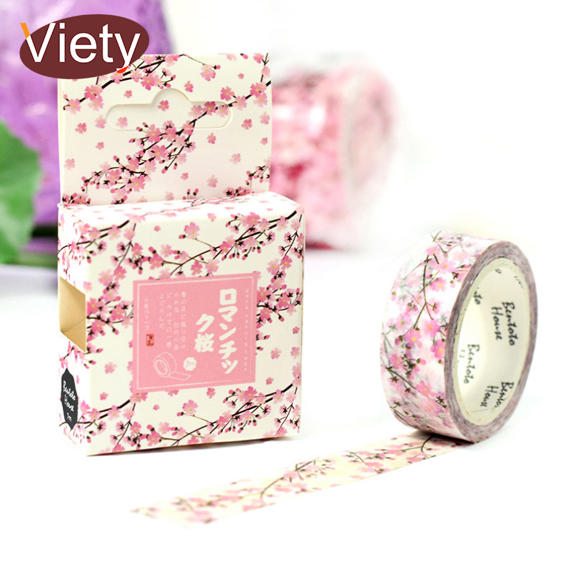 1.5*7M Romantic Sakura washi tape DIY decorative scrapbooking masking tape adhesive label sticker tape stationery aagu 1pc 8mm 7m label stationery red black dot stripe washi tape decorative masking tape lovely high viscosity paper sticker
