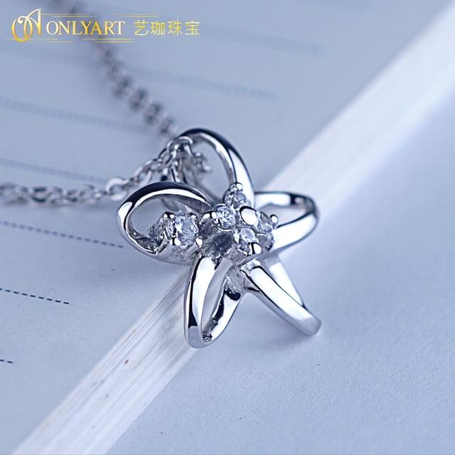 Купить женское колье из серебра 100% пробы с подвеской в виде цветка картинки