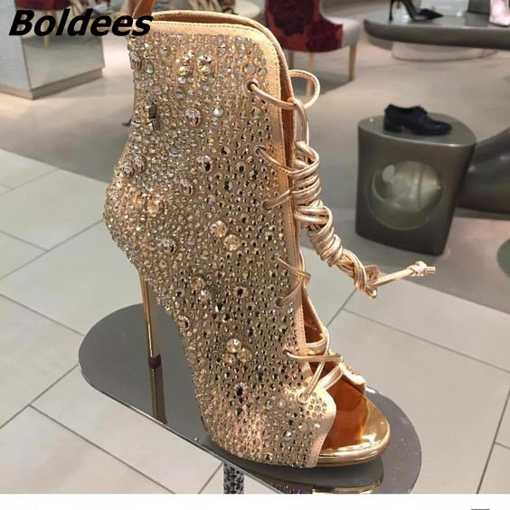 Chic Golden Women Bling Bling Crystal Stiletto Heel Ankle Boots Glittering Peep Toe Lace Up Dress Sandal Booties New Arrival игровой комплекc perfetto sport rimini кольца