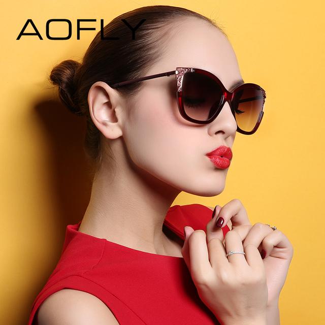 Aofly senhoras marca de moda óculos de sol do vintage estilo elegante oco design de metal óculos de sol mulheres eyewears gafas de sol af7907