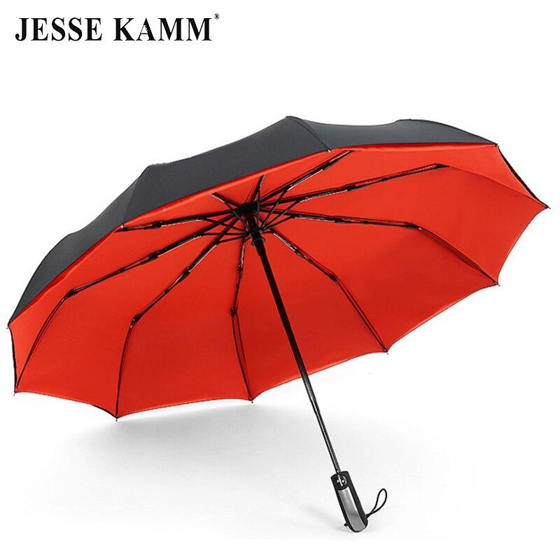 JESSE KAMM totalmente automático doble Canopy 190 T Pongee paraguas 3 plegable 10 costillas de fibra de vidrio fuerte viento lluvia para mujeres Hombres