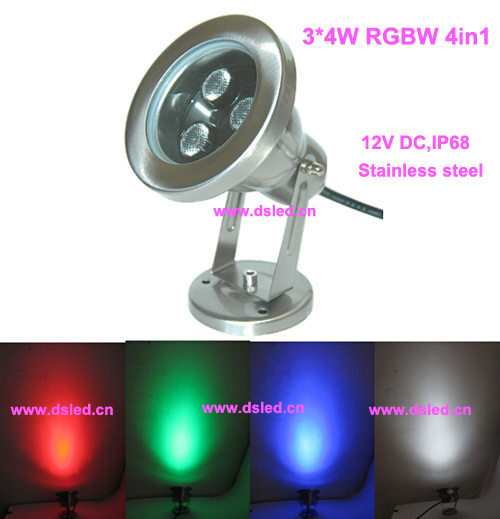 IP68,stainless steel,High power 12W RGBW LED pool light,RGBW LED fountain light,12V DC,DMX compitable,DS-10-32-12W-RGBW-12V