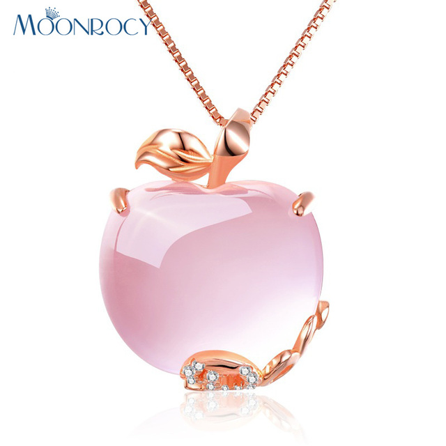 MOONROCY CZ Crystal Pink Opal Pendant Necklace Chokers Rose Gold Color for Women Girls Ross Quartz Cute Gift Drop Wholesale