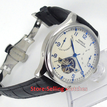 43mm parnis white dial Bracelet Clasp power reserve Folding clasp automatic mens watch
