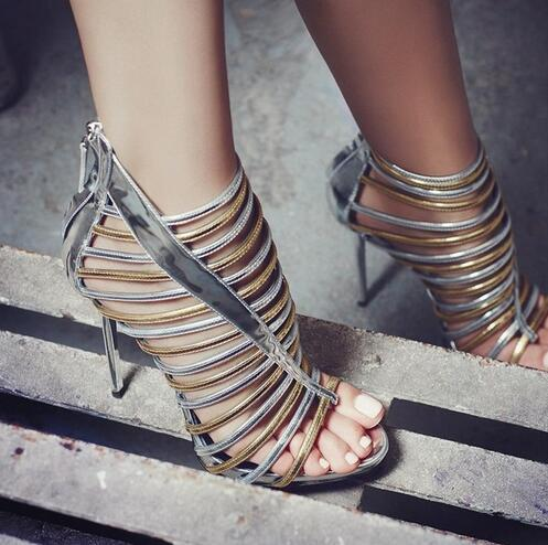 2017 Women Cut Outs Sandals Patent Leather Gladiator High Heels Hollow Out Sexy Women Dress Shoes