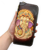 Hand carved Elephant God Wallets Bag Purses Women Men Long Clutch Vegetable Tanned Leather The Most Special New Year Gift