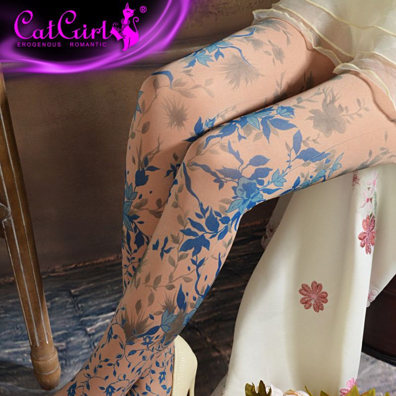 RUIN Women's Tights Women's Pantyhose Flower Pantyhose Three Colors Girl's Tights