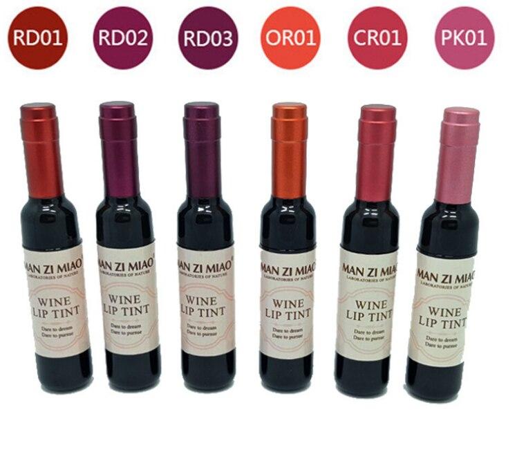 Lipgloss Waterproof Red Wine Bottle Matte Lip Tint Gloss Long Lasting Moisturize Lip Tint Cosmetic Liquid Lipstick 6 Colors