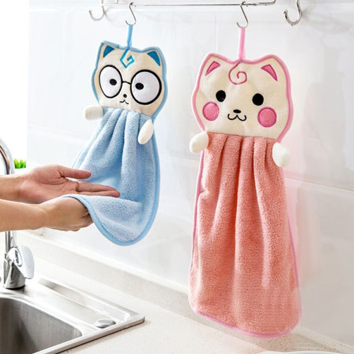 Hanging Dishcloth Kitchen Towel For Hands Soft Cleaning Washing Cloth Dish Towel Microfiber Cartoon Cute Kitty Hang Towel