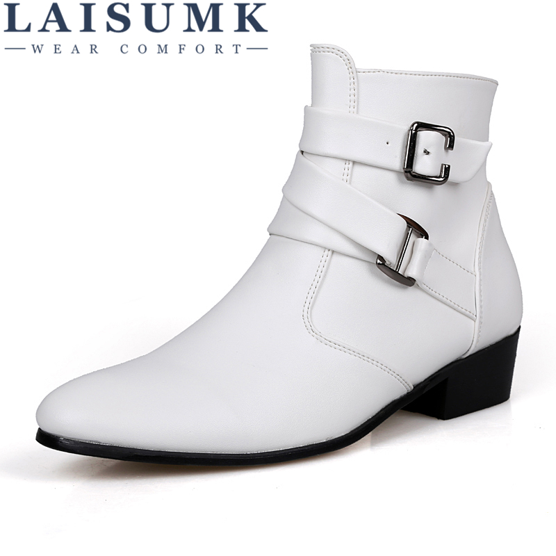 LAISUMK British Style Spring And Autumn Casual Men Pointed High-Country Boots Plus Size Casual Short Men Zipper Leather Boots