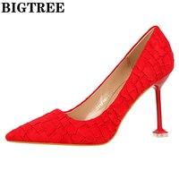 Обувь высокая обувь Для женщин Пикантный острый носок высокий каблук стилет для Для женщин Насосы высокое качество с ПР дамские модельные т...