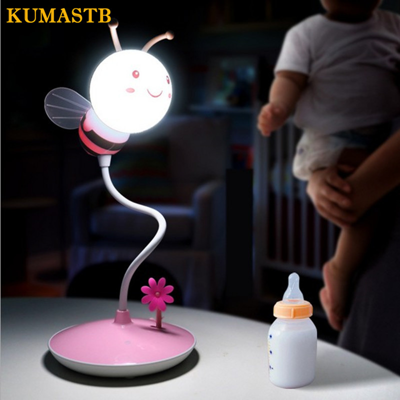 Cartoon Bees Night Light DC 5V USB Rechargeable Night Lamps Touch Dimming LED Table Lamp Baby Children Gift Bedside Lamp led remote control colorful eggs rechargeable bar table lamp ktv night club light dimming color led night light free shipping