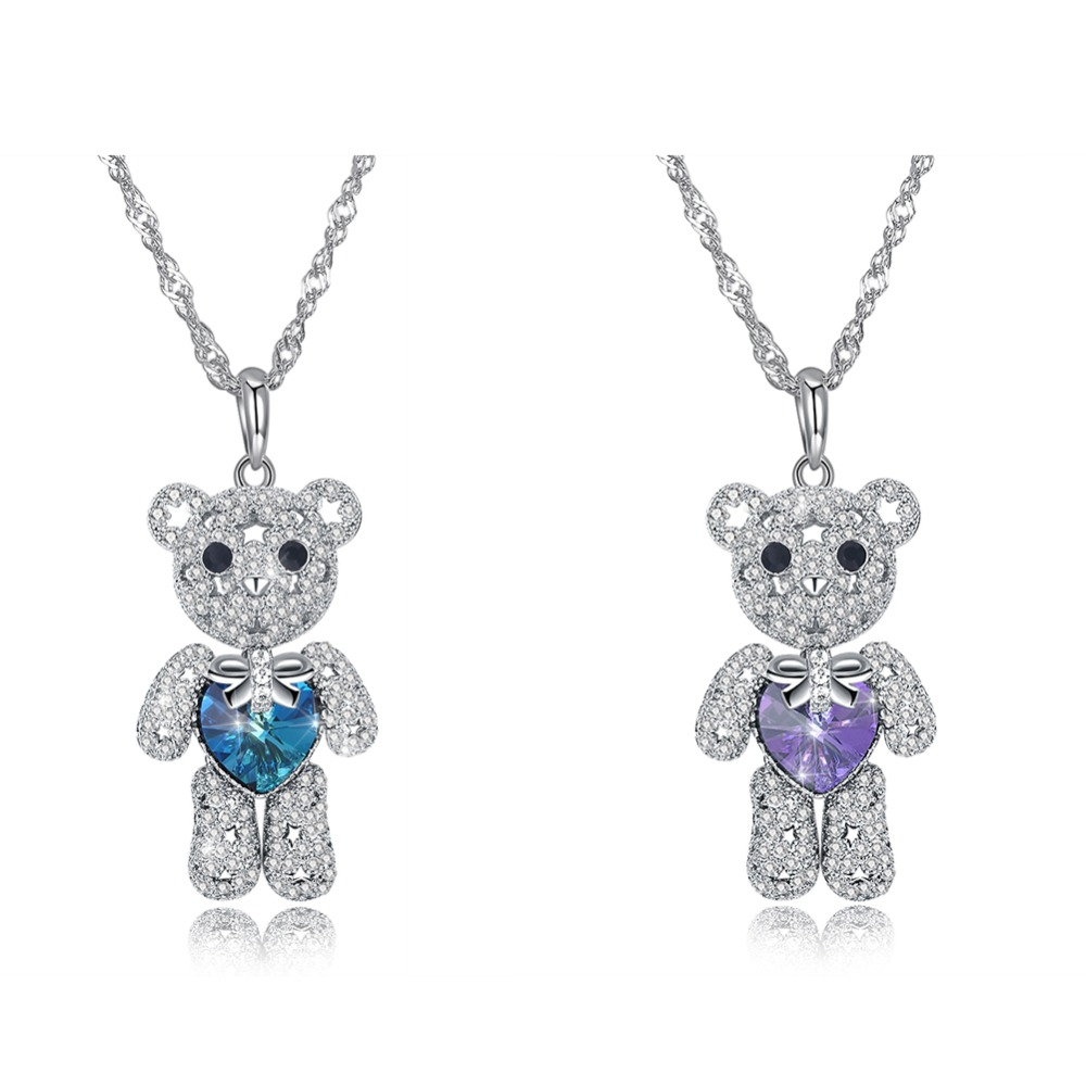 Happy Bear Family Beautiful Crystal 925 Sterling Silver Pendant Necklace Women Girls Gifts Prom SVN277