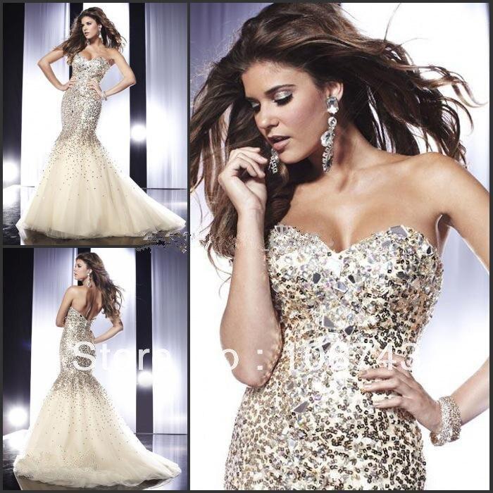 Livraison gratuite 2013 robe de soirée domestique de jeunes mariées robes , plus la taille sexy strass de luxe en cristal de paillettes longue sirène robes de bal