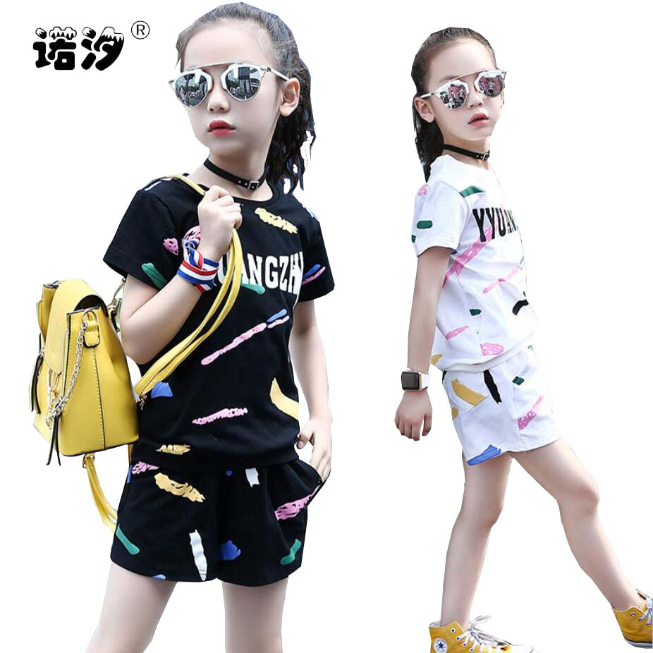 Girls clothes kids sets summer Style tops+shorts children princess soft Tee+trousers 3-13 Y children outwear baby sweat clothes
