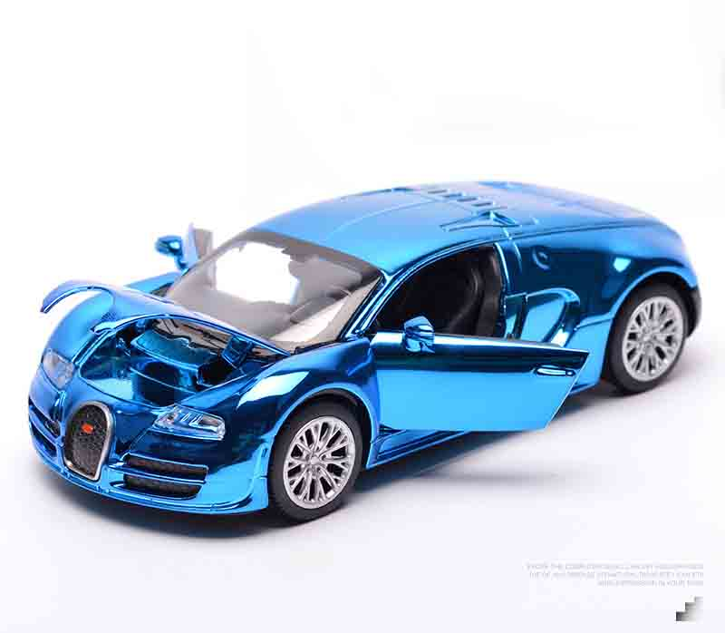 Alloy Bugatti painting model, simulation Alloy car, scale 1/32 , Pull Back car with light Music ...