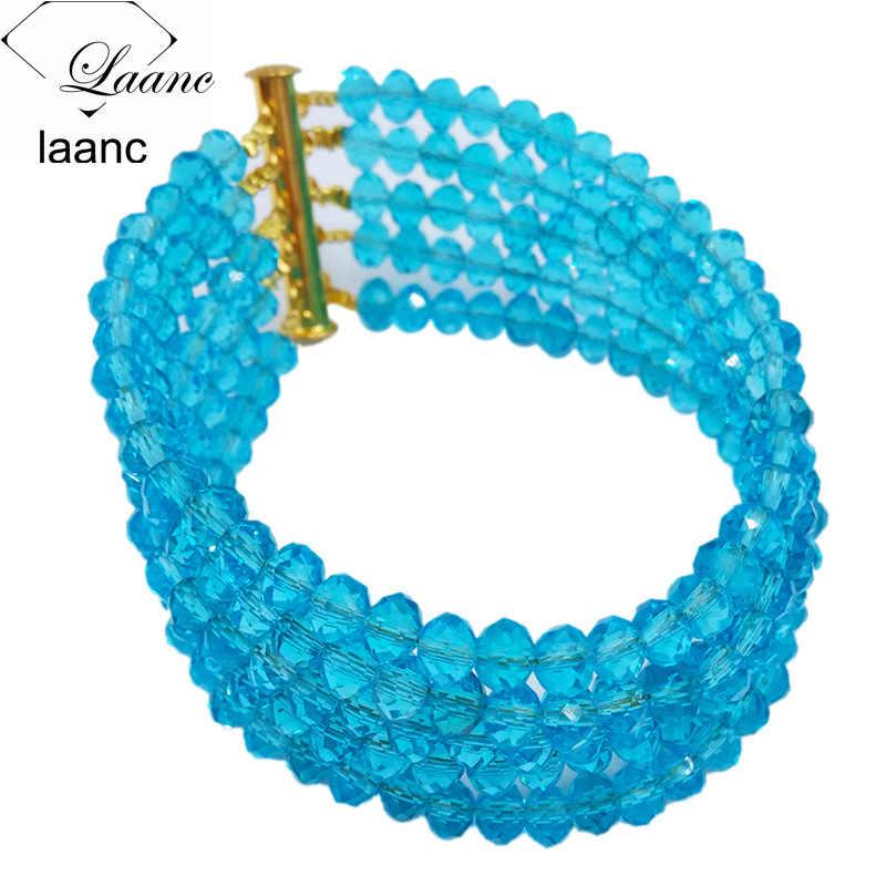 מותג Laanc אגם כחול קריסטל חרוזים אפריקאים תכשיטי סט שרשרת ועגילים כלה חתונת תכשיטי סטי 10R3H009