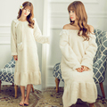 Autumn coral velvet women pink  long flannel plush nightgown thick winter home service