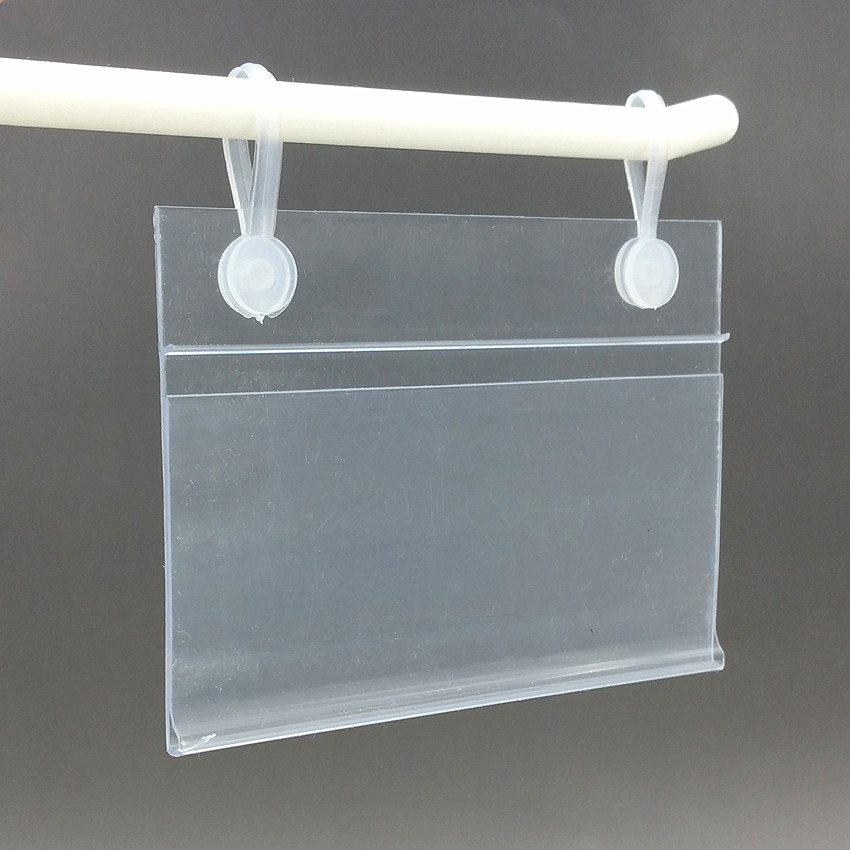 80x55mm PVC Plastic Price Tag Card Label Display Holders Promotion Clips By Hanging Buckles On Mesh Rack Basket Shelf 50pcs