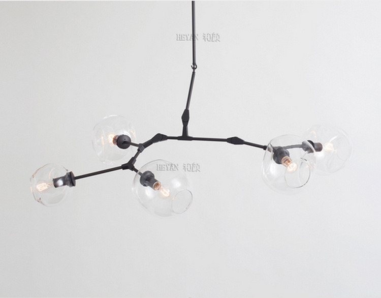 5 Head Nordic Style DNA Lindsey Lights  Dining Room Chandelier Glass Cafe Decoration Light Hotel Light Free Shipping