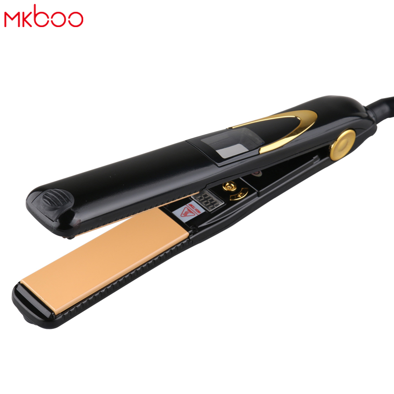 Free shipping home 110-220V Professional Titanium Hair Iron Keratin Straightening Irons 446F Fast Hair Straightener LED Display hair straightener led display wet