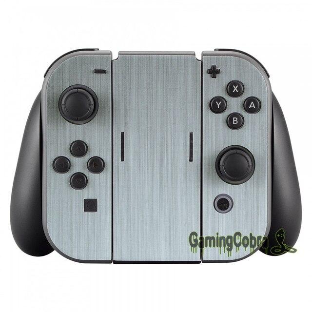 Silver Skin Sticker Covers + 2 Pcs Glass Screen Protectors for Nintendo Switch Console Joy-con - YSNS0344+NSPJ0014GC 2