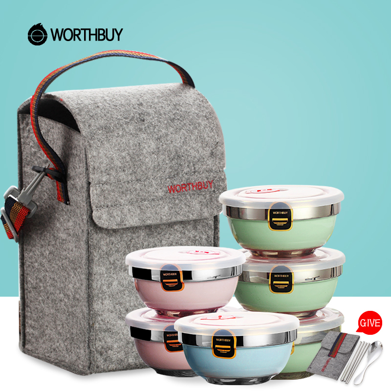 WORTHBUY Portable Stainless Steel Rice Bowl Set Nordic Color Paint Fruit Soup Salad Bowl With Lid Dinnerware Set Food container