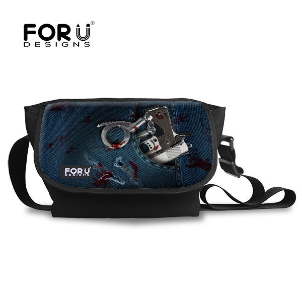 FORUDESIGNS Tide Men's Canvas Messenger Bag Leisure High School Student Cross Body Bags for Men Casual Teenage Boys Shoulder