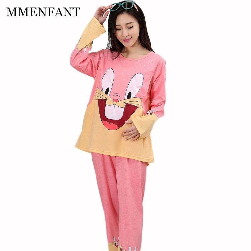 2pc Maternity clothes 2017 summer new fashion cotton Pajamas suit women dress vestidos pregnancy clothes sets Maternity feeding