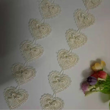 1 Yard 5cm Apricot Heart Bowknot Pearl Embroidered Lace Trim Ribbon Fabric Sewing Craft Patchwork Handmade Costume Decoration