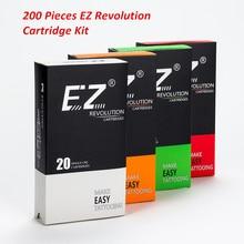 200 Pcs 혼합 로트 EZ 혁명 카트리지 문신 바늘 RL RS M1 CM 카트리지 시스템 문신 기계 그립과 호환 가능