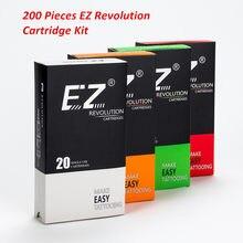 EZ-Lote variado de cartuchos de agujas desechables para tatuaje, cartucho de agujas compatibles con tatuadora de cartuchos, RL, RS, M1, CM, lote de 200 unidades