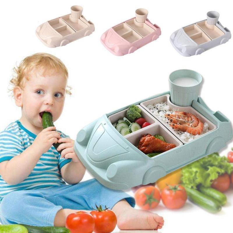 Baby Food Containers Bamboo Fiber Infant training dishes Baby feeding Set Car shape Bowl Cup Plates Sets Children Tableware D4 цена