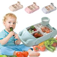 Baby Food Containers Bamboo Fiber Infant Training Dishes Baby Feeding Set Car Shape Bowl Cup Plates