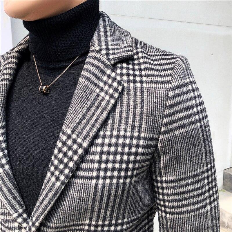 Men's Wool Coat England Middle Long Coats Jackets Slim Fit Male Autumn Winter Overcoat Woolen Coat Gray Black Plaid Smart Casual - 5